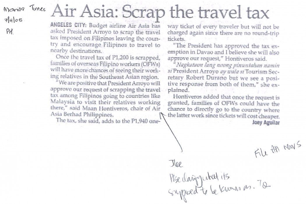 airasia Scrap the travel tax