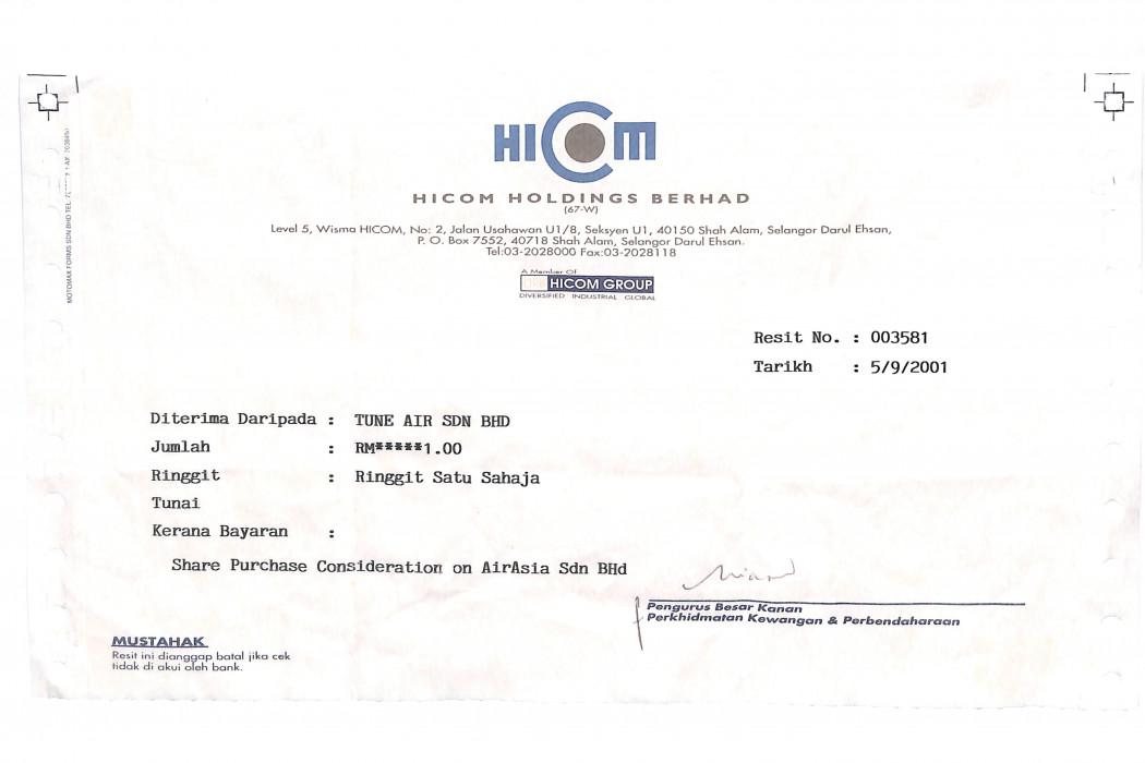 airasia Sdn Bhd's share purchase receipt