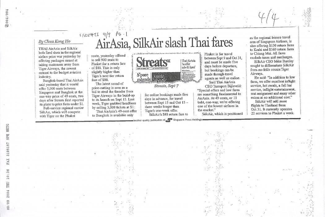 airasia, SilkAir slash Thai fares