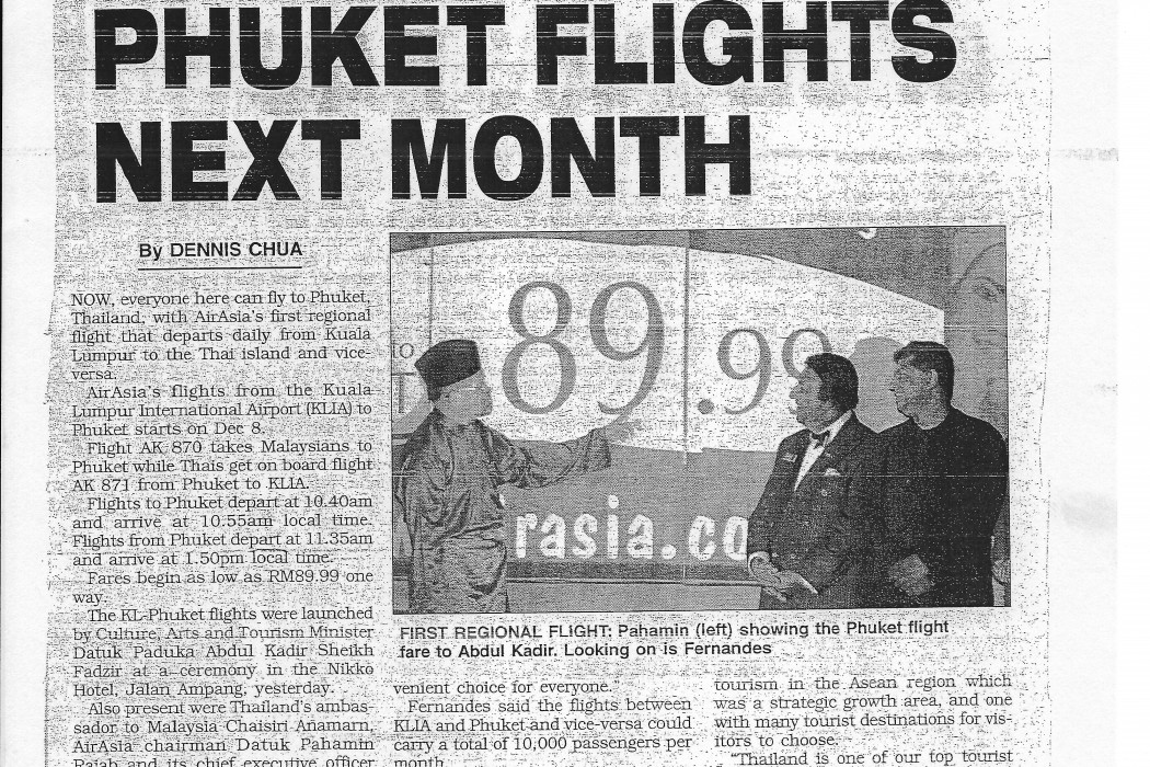 airasia Starts Phuket Flights Next Month