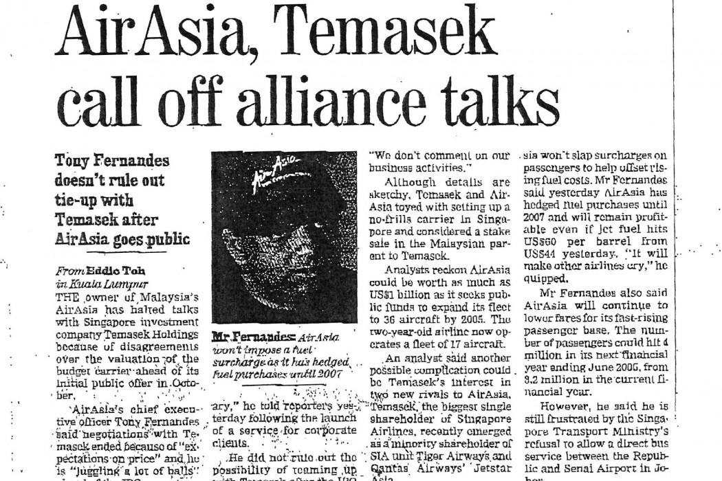 airasia, Temasek call off alliance talks