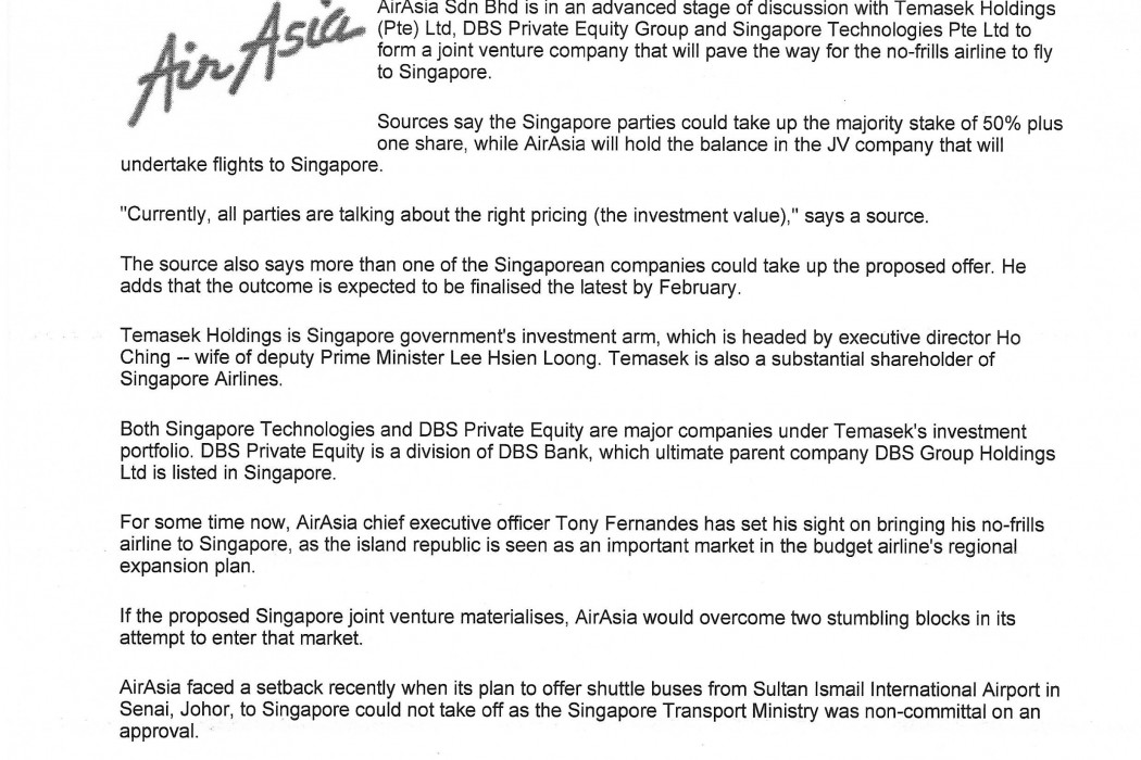 airasia, Temasek move closer to a deal - 01