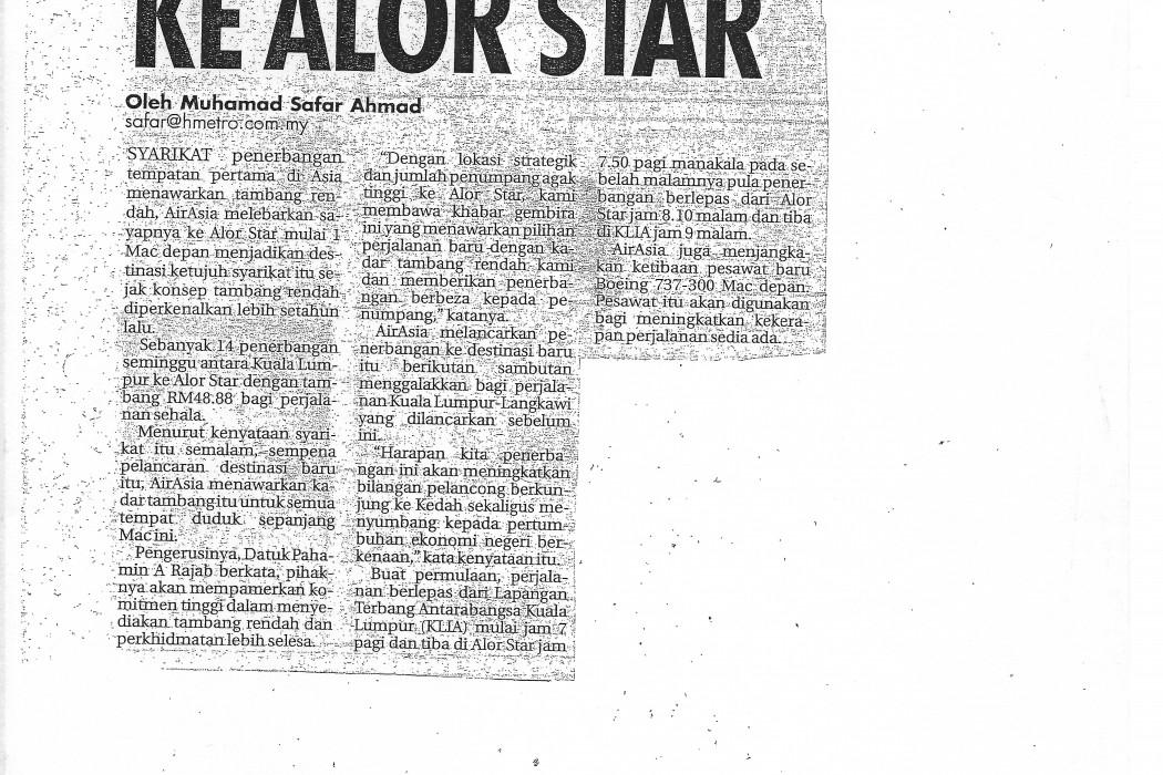 airasia Terbang ke Alor Star