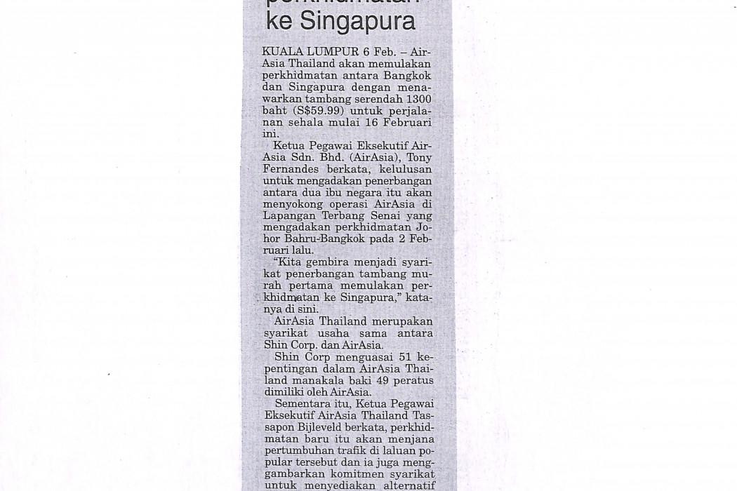 airasia Thailand mulakan perkhidmatan ke Singapura