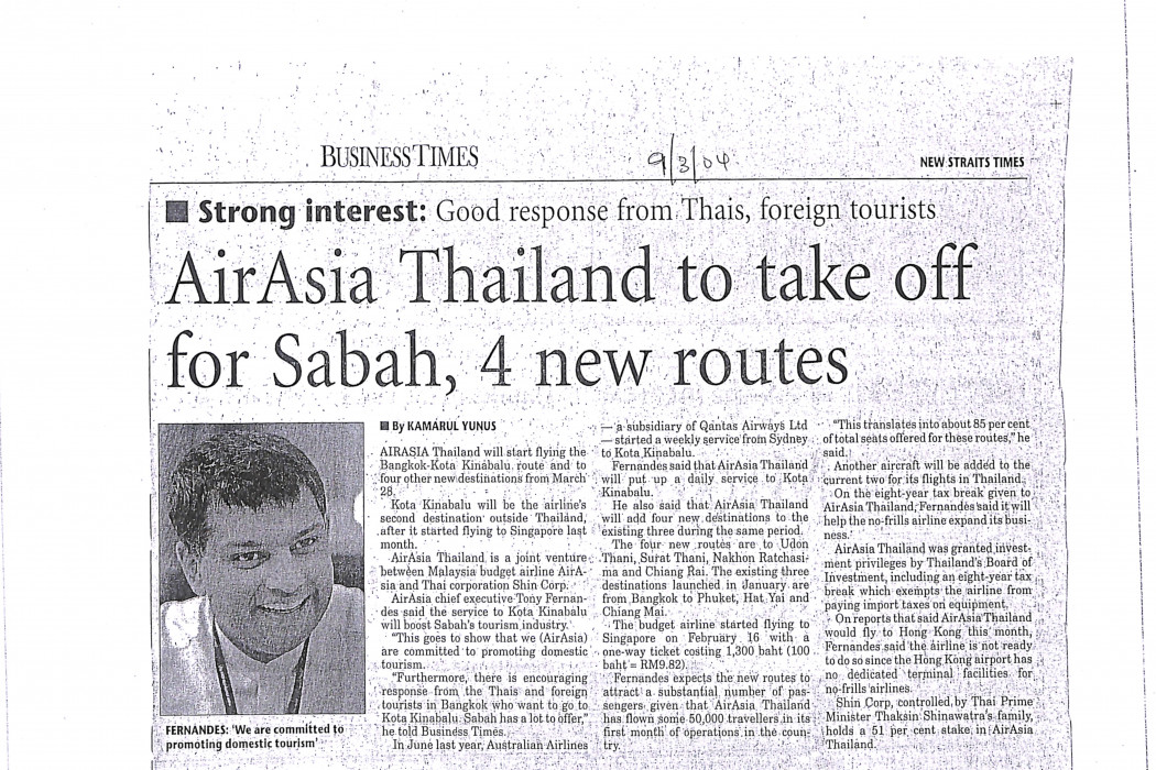 airasia Thailand to take off for Sabah, 4 new routes