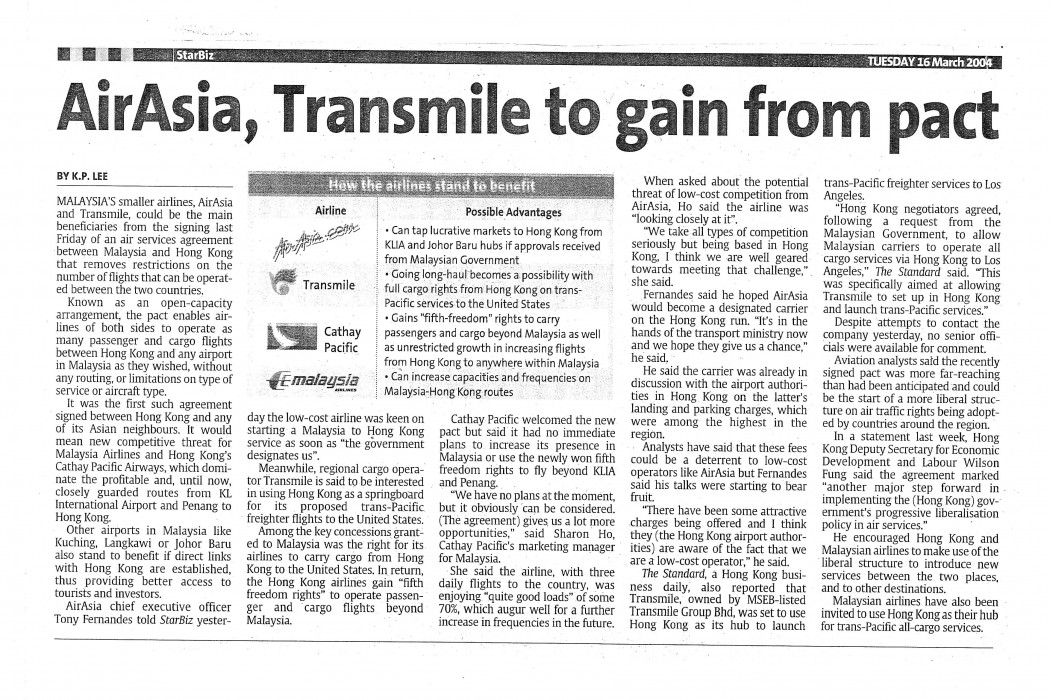 airasia, Transmile to gain from pact