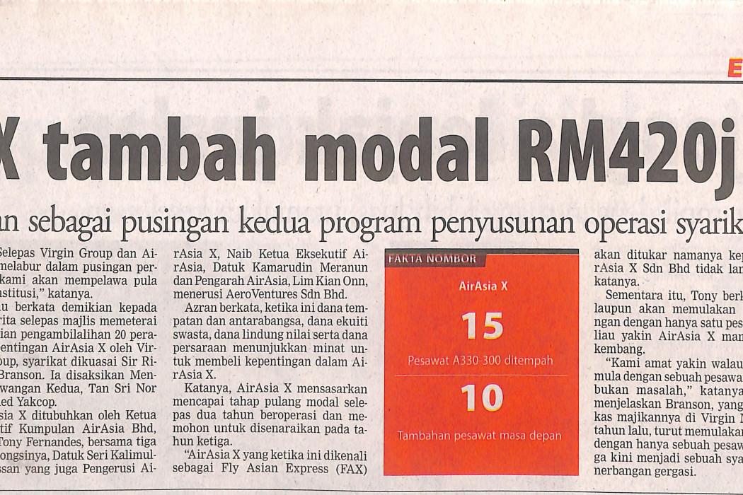 airasia X tambah modal RM420j