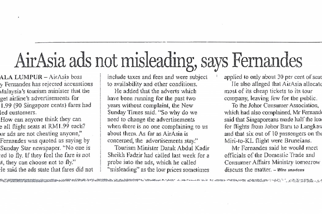 airasia ads not misleading, says Fernandes