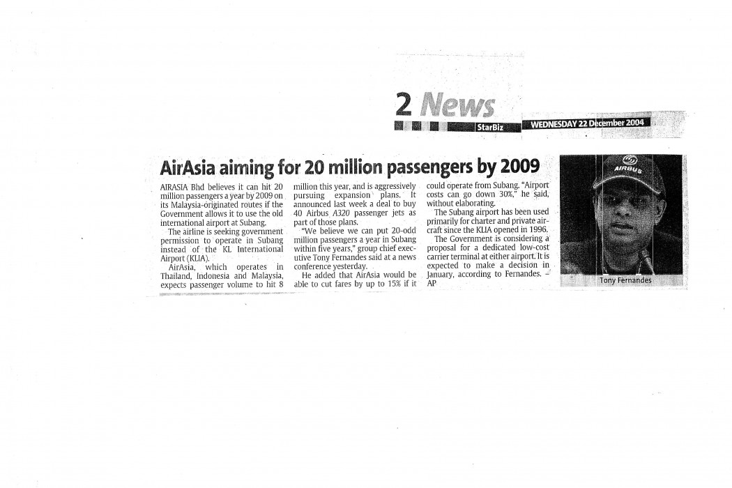 airasia aiming for 20 million passengers by 2009