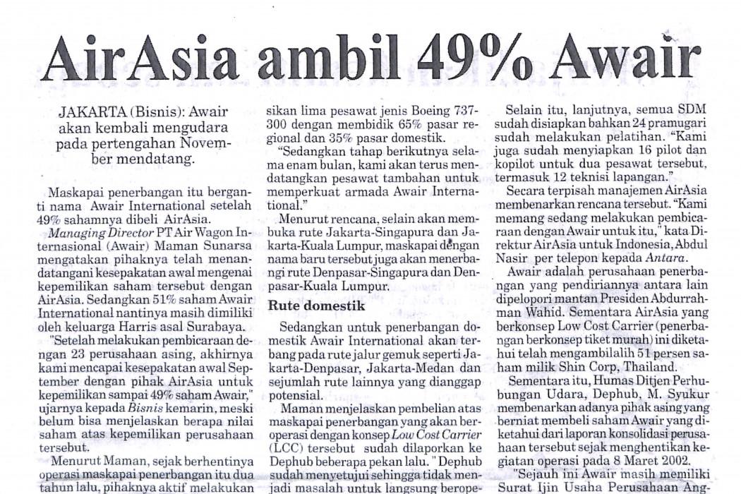 airasia ambil 49% Awair