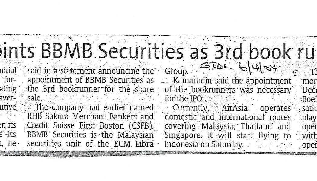 airasia appoints BBMB Securities as 3rd book runner for IPO