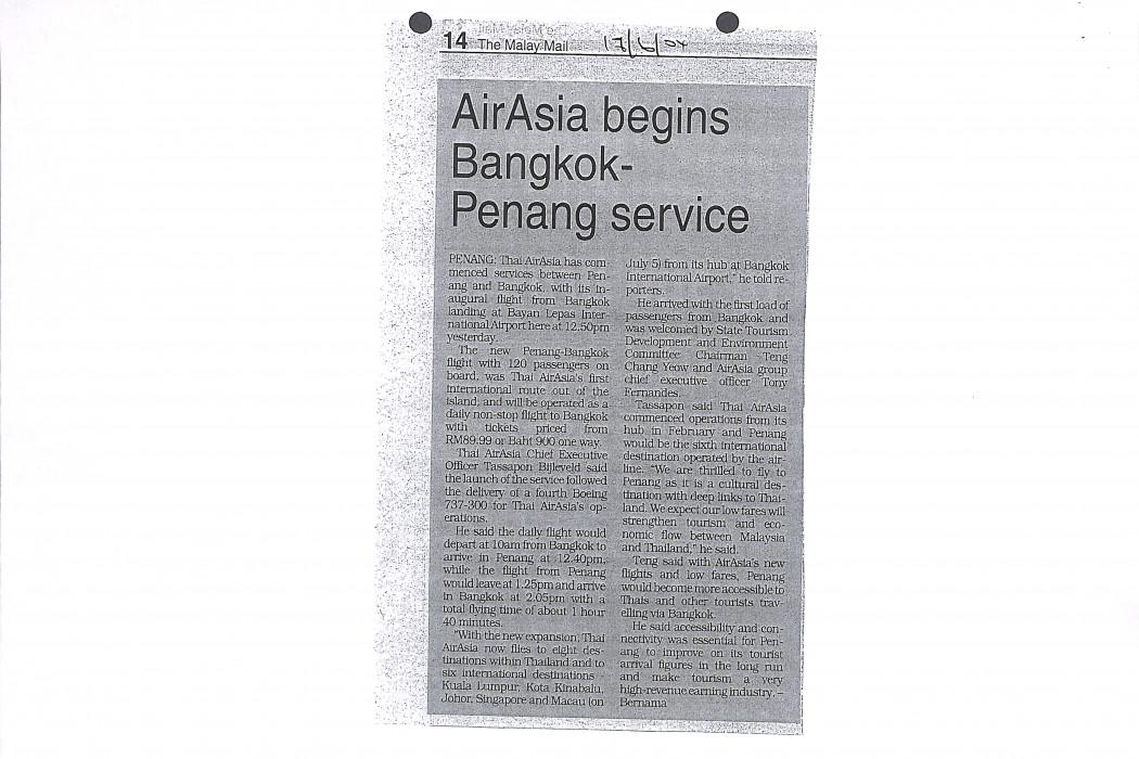 airasia begins Bangkok-Penang service