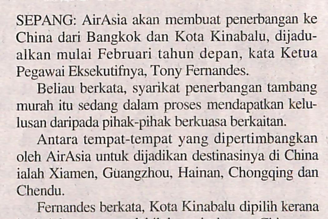 airasia buat penerbangan ke China dari Kota Kinabalu