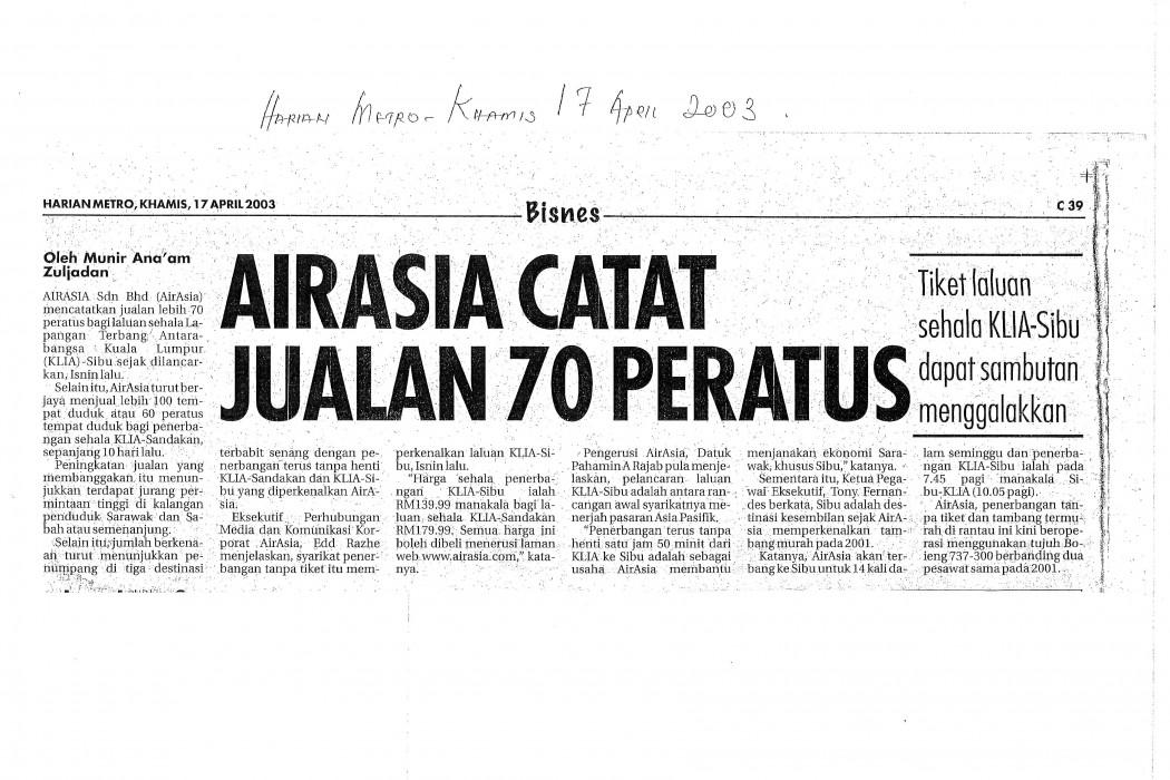 airasia catat jualan 70 peratus