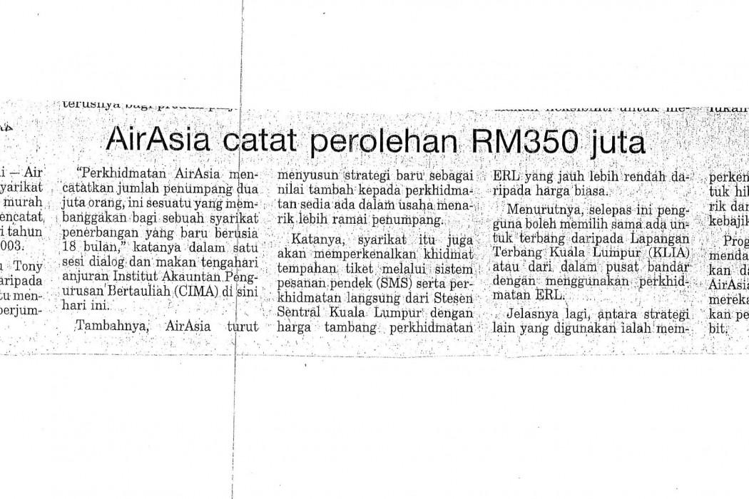 airasia catat perolehan RM350 juta