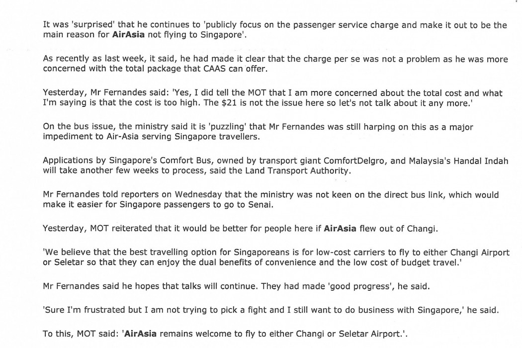 airasia claims - S'pore ministry breaks silence (2)