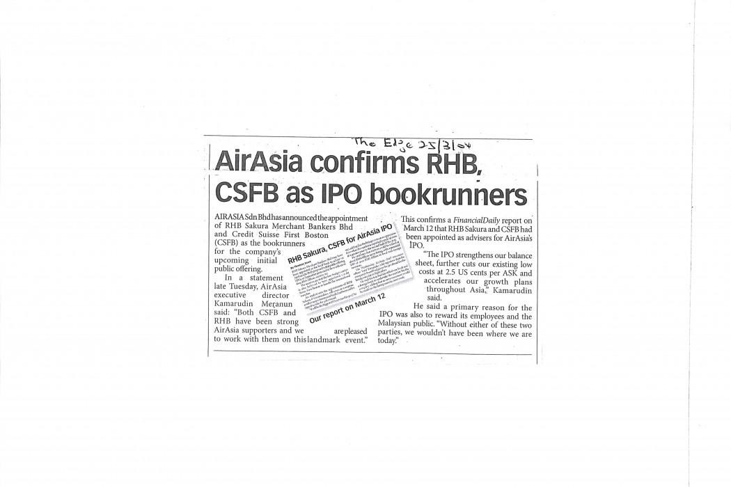 airasia confirms RHB, CSFB as IPO bookrunners