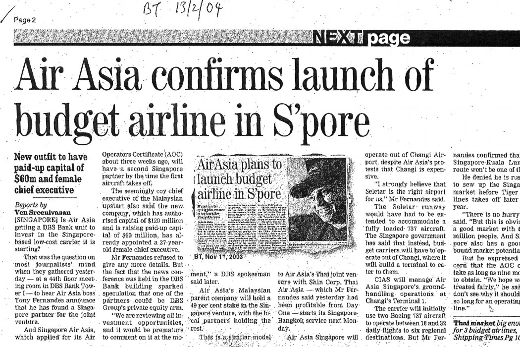 airasia confirms launch of budget airline in S'pore
