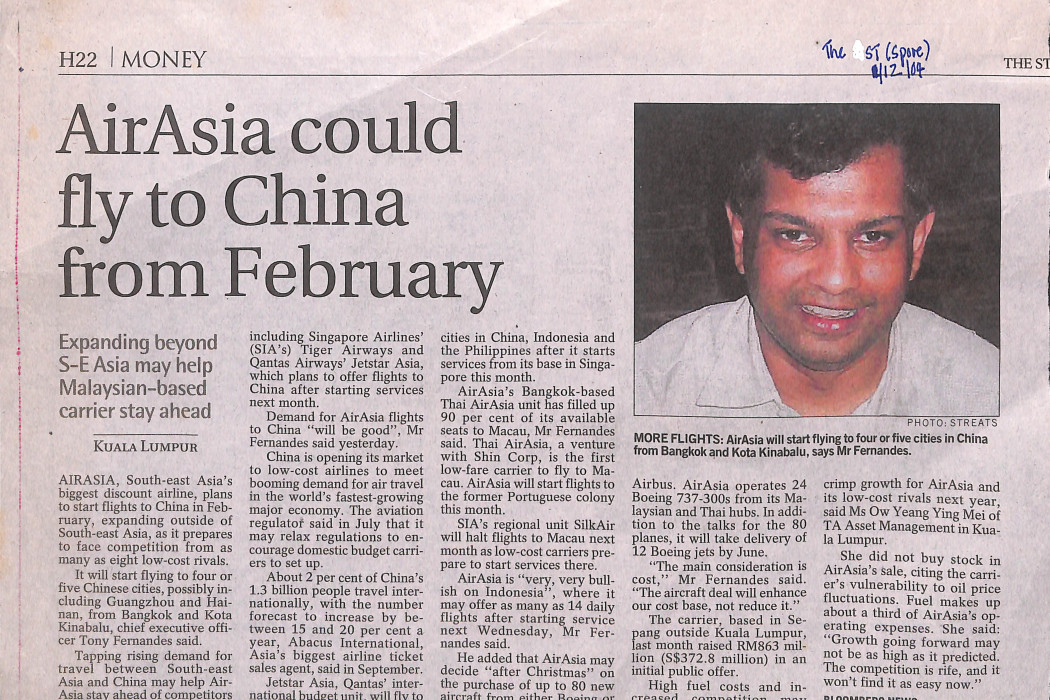 airasia could fly to China from February