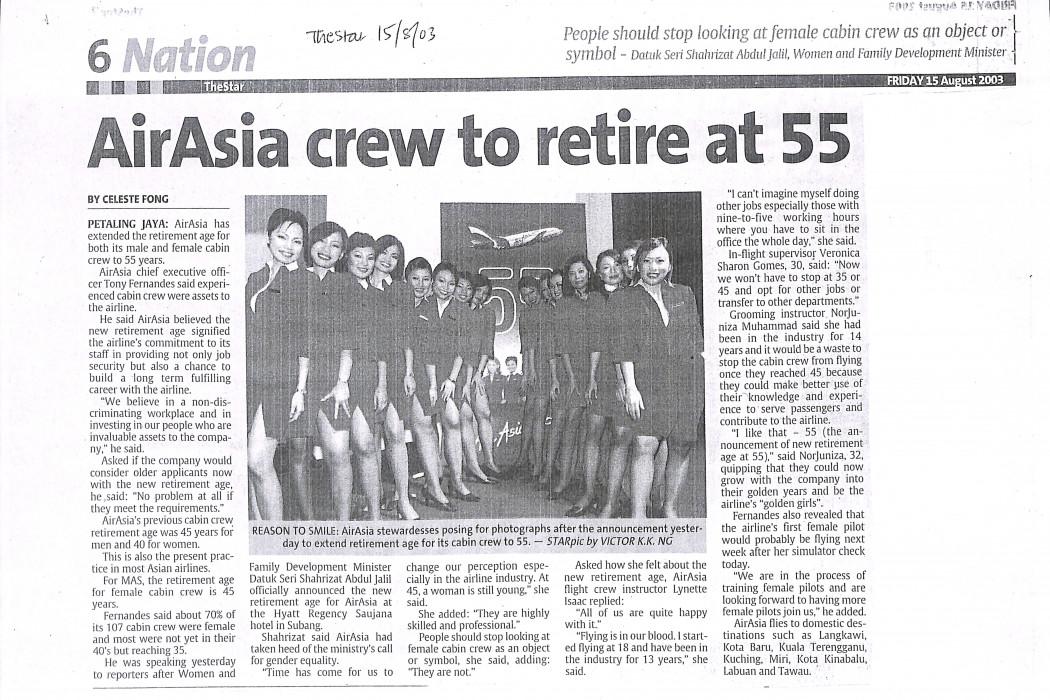 airasia crew to retire at 55