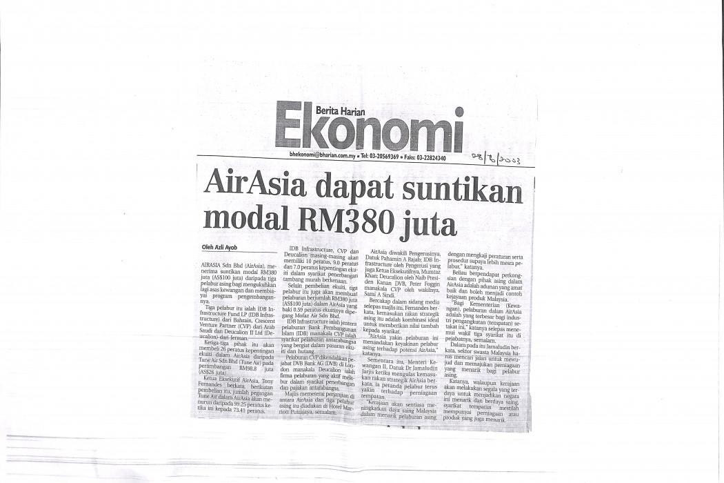 airasia dapat suntikan modal RM380 juta