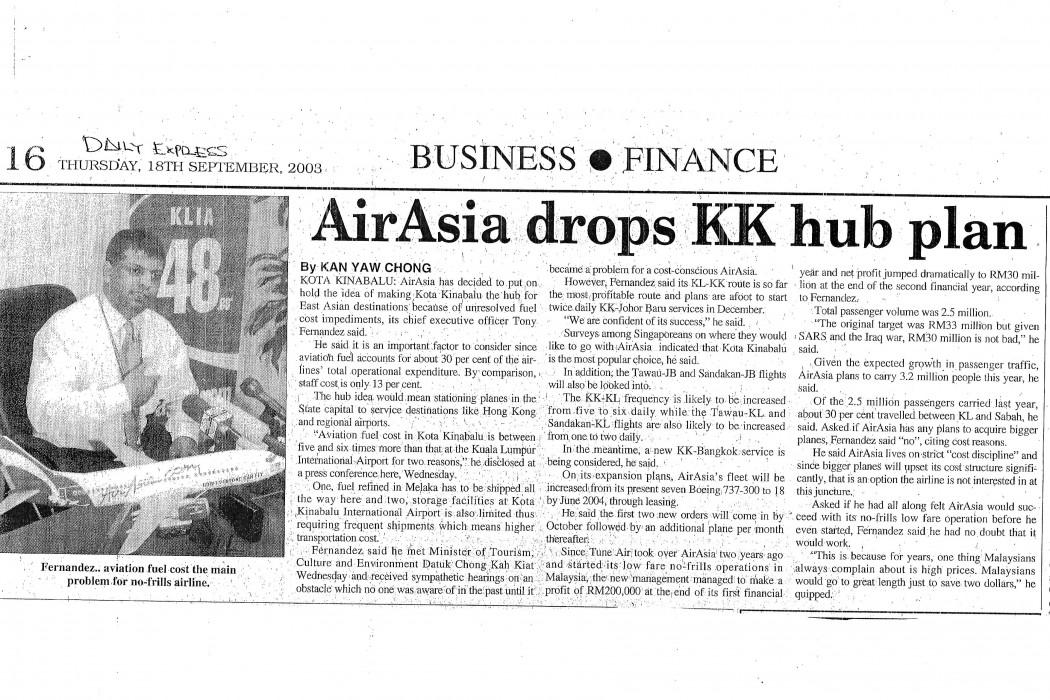 airasia drops KK hub plan