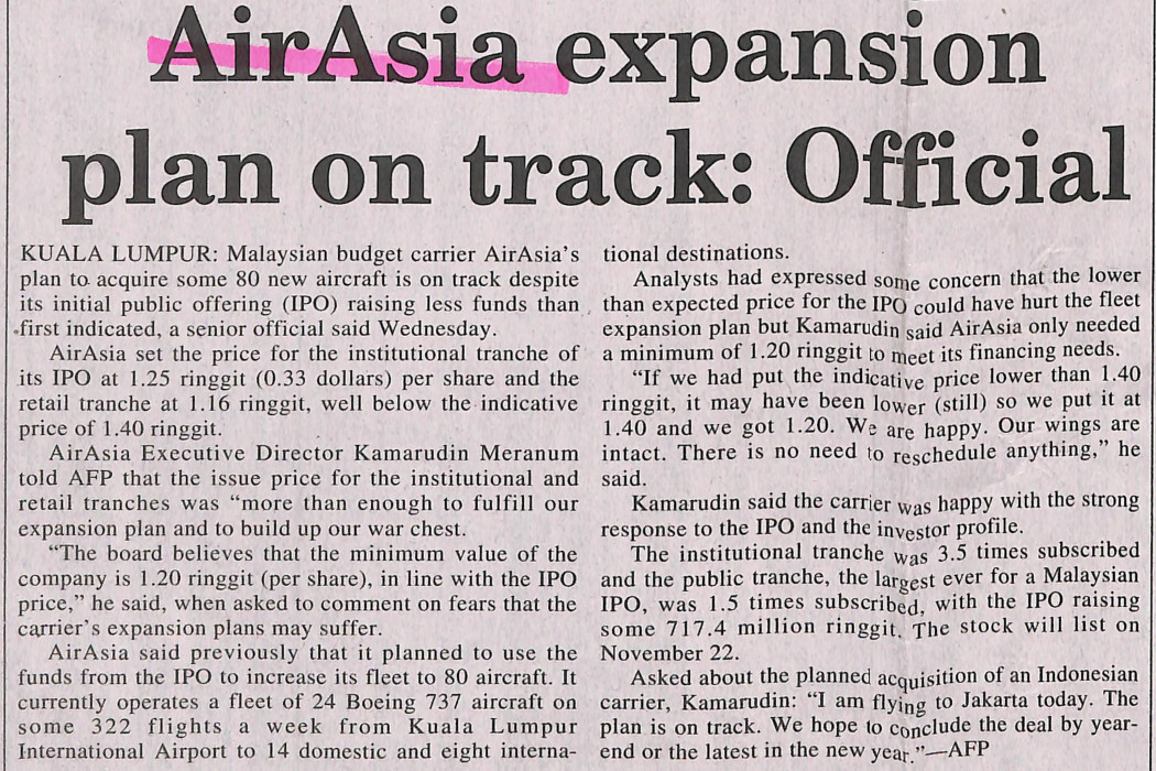 airasia expansion plan on track; official