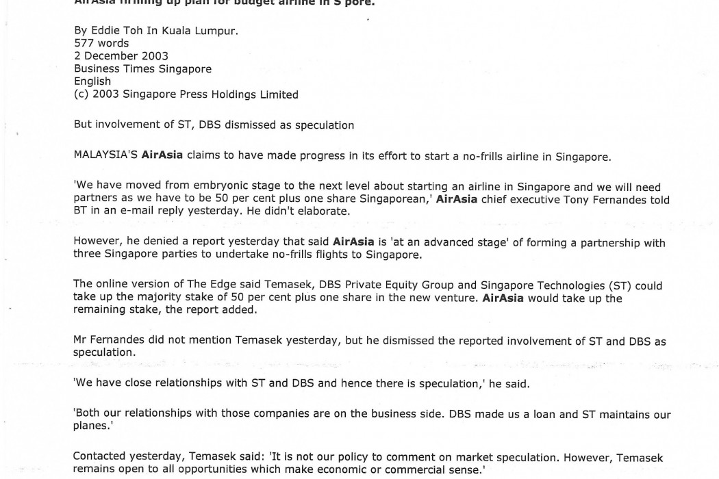 airasia firming up plan for budget airline in S'pore - 01