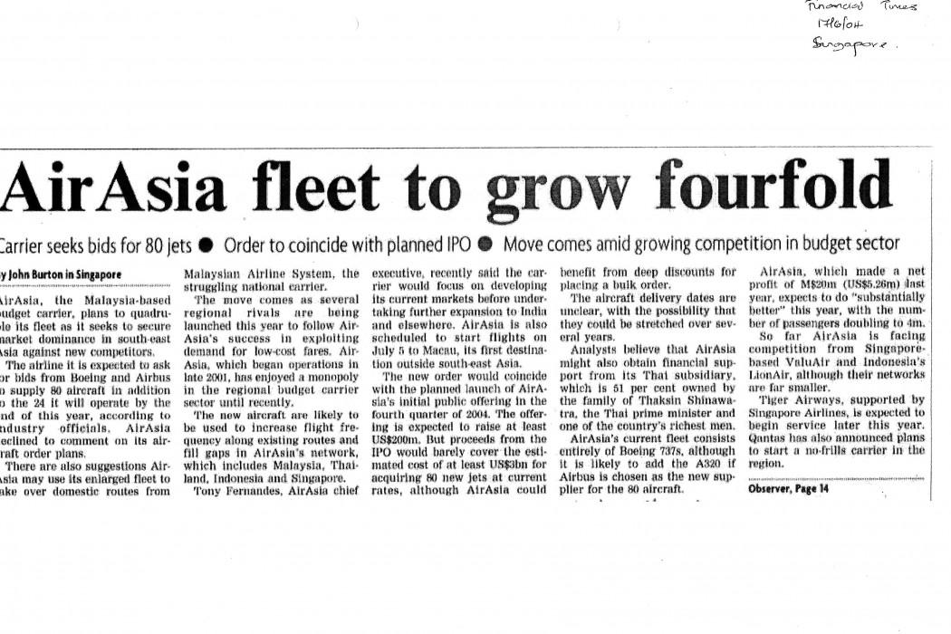 airasia fleet to grow fourfold