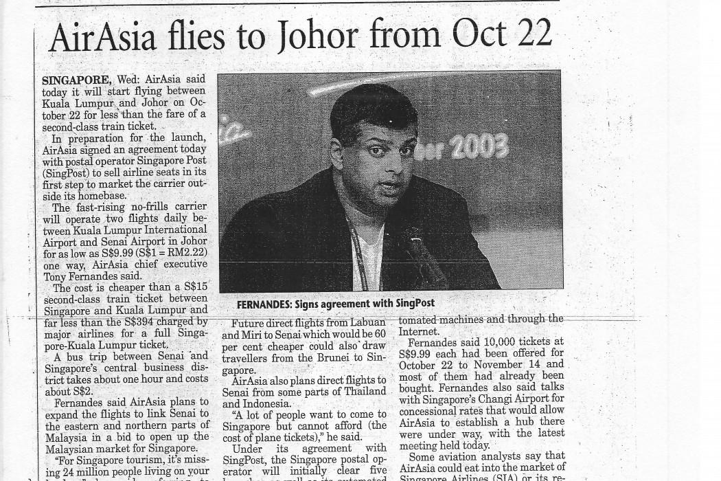 airasia flies to Johor from 22 Oct