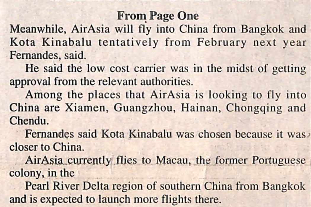 airasia flying to China from KK
