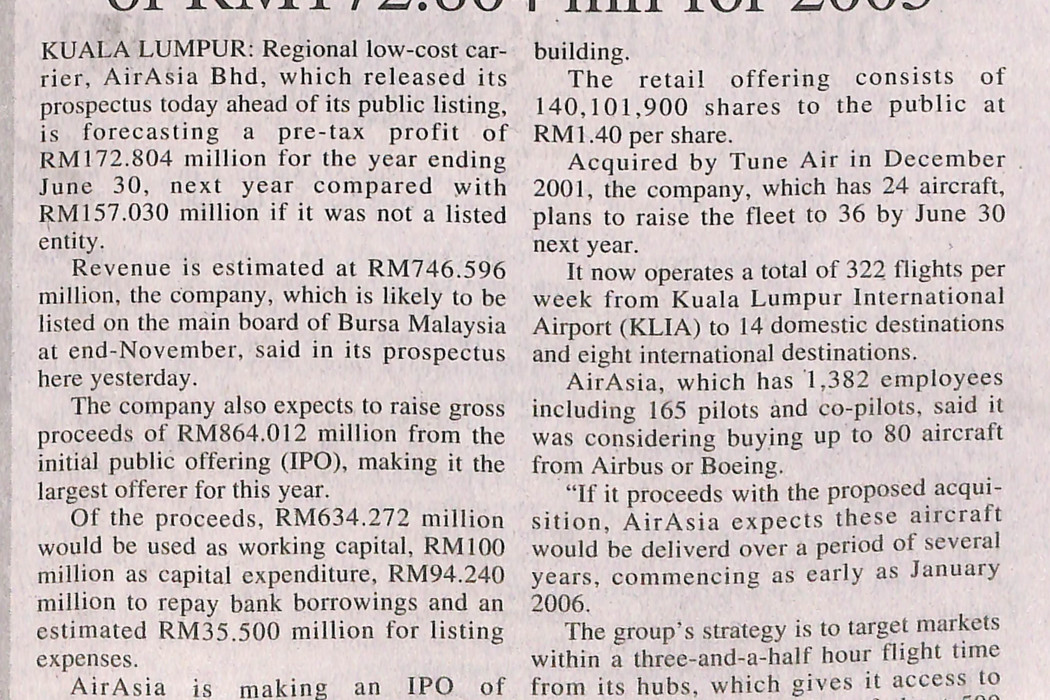 airasia forecasts pre-tax profit of RM172.804 mil for 2005
