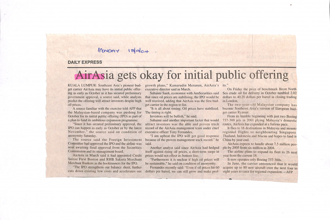 airasia gets okay for initial public offering