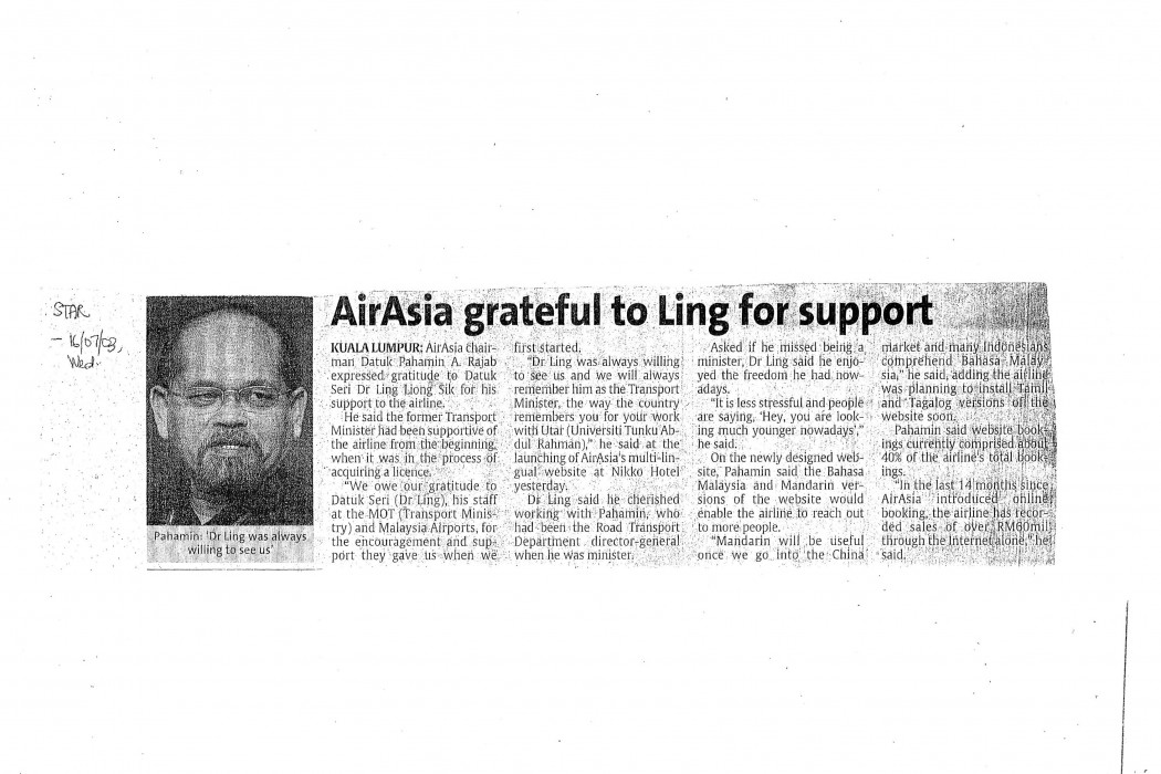 airasia grateful to Ling for support