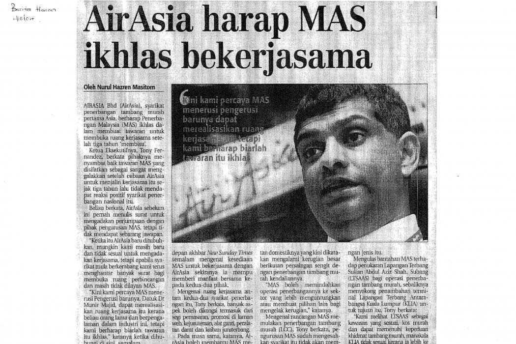 airasia harap MAS ikhlas bekerjasama