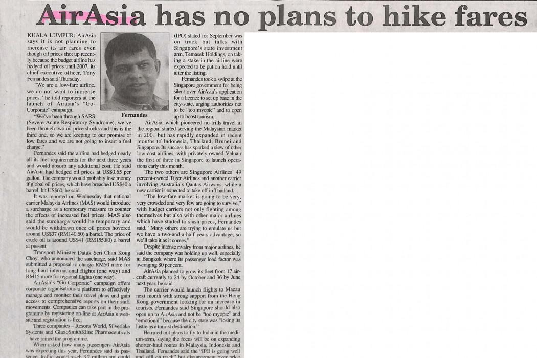 airasia has no plans to hike fairs