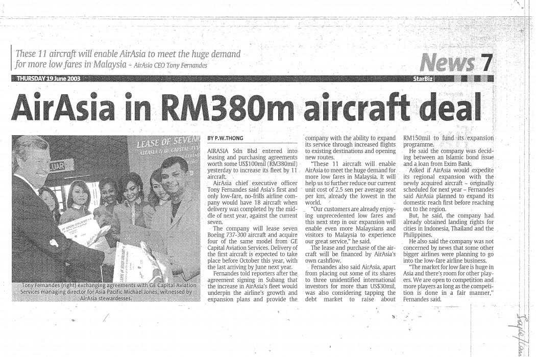 airasia in RM380m aircraft deal