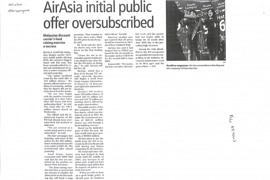 airasia initial public offer oversubscribed