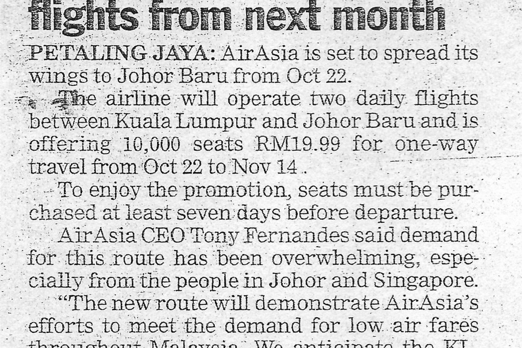 airasia introduces KL-JB flights from next month