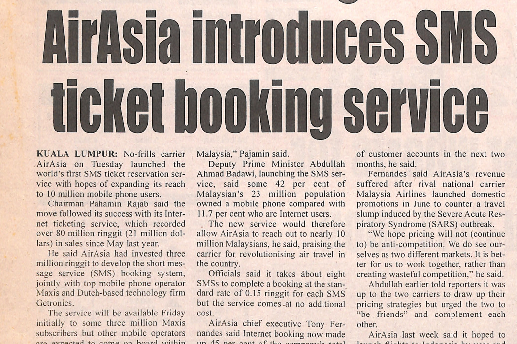 airasia introduces SMS ticket booking service