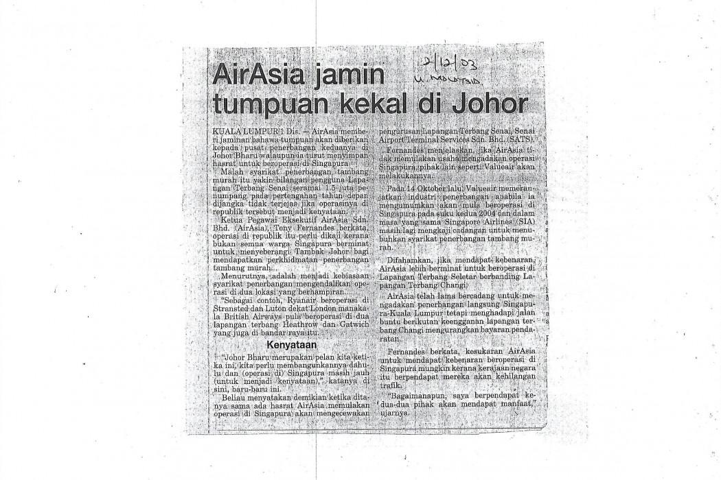 airasia jamin tumpuan kekal di Johor