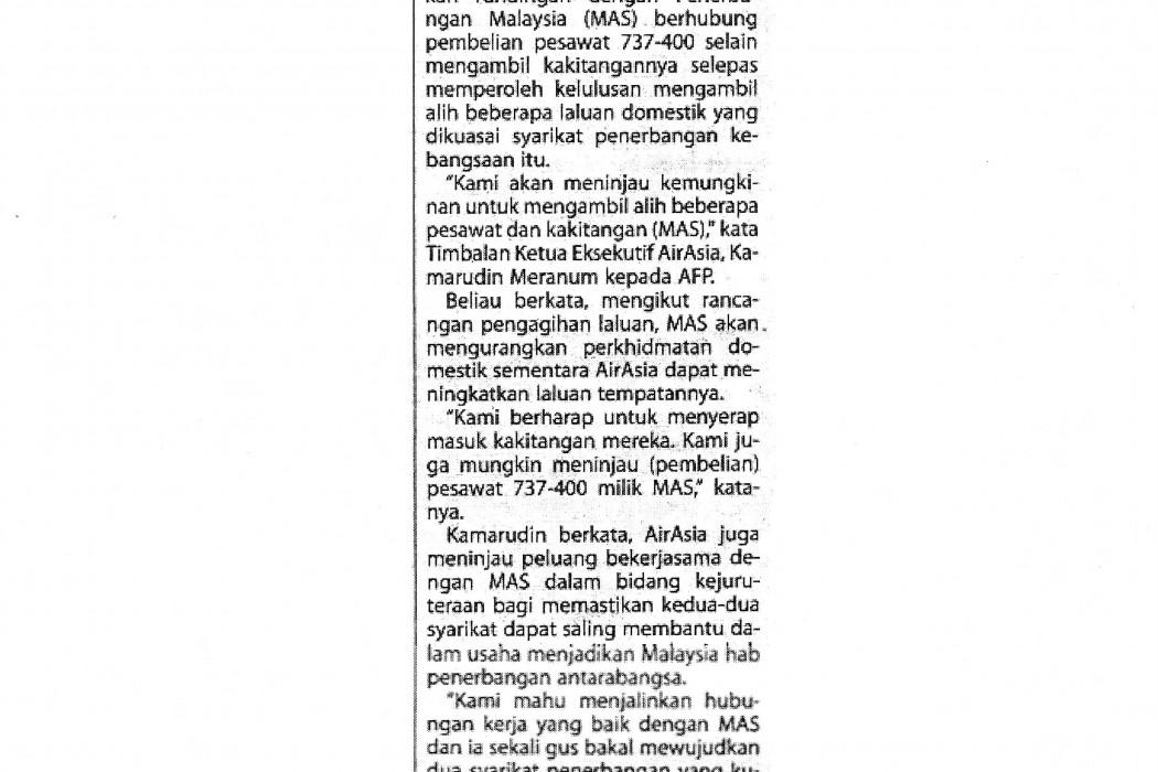 airasia kaji ambil alih pesawat, pekerja MAS
