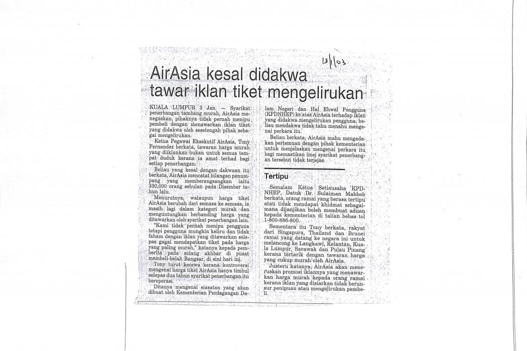 airasia kesal dakwaan tawar iklan tiket mengelirukan