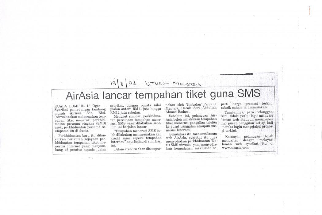 airasia lancar tempahan tiket guna SMS