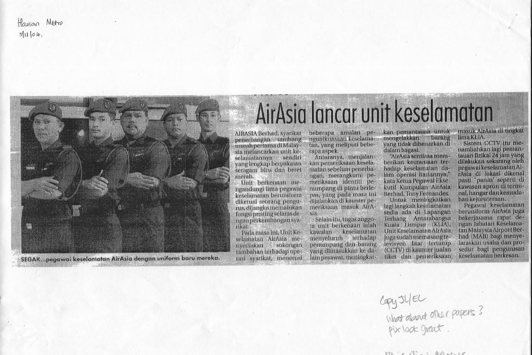 airasia lancar unit keselamatan