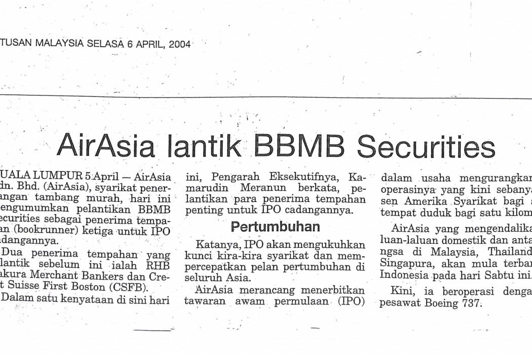 airasia lantik BBMB Securities