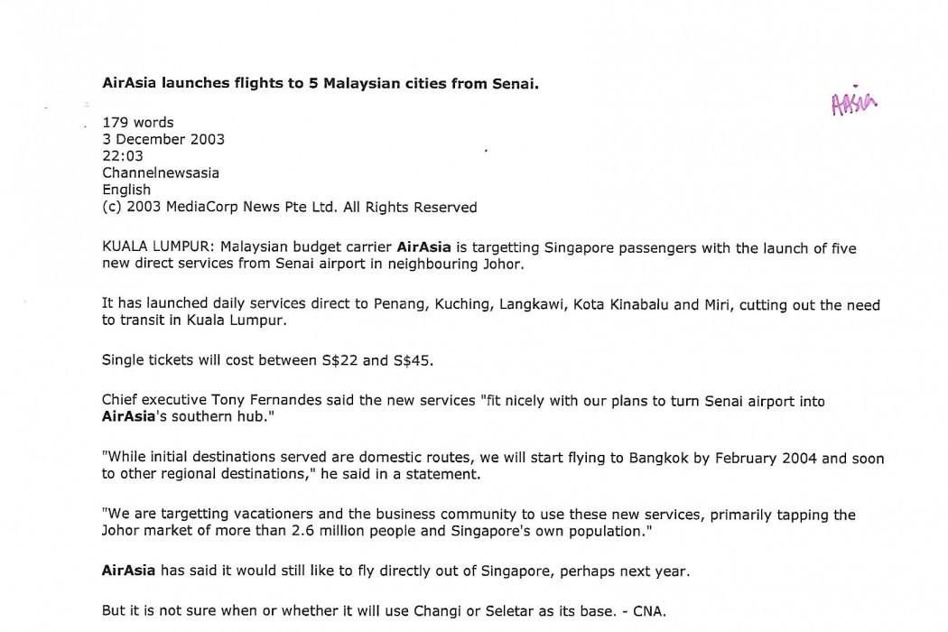airasia launches flights to 5 Malaysian cities from Senai