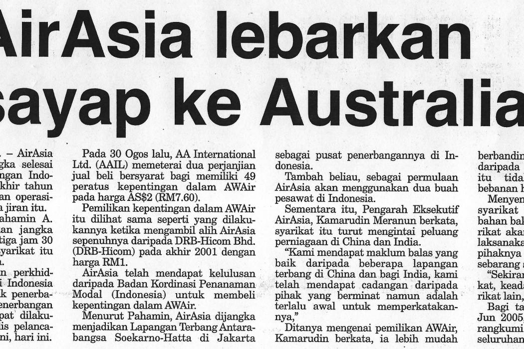 airasia lebarkan sayap ke Australia