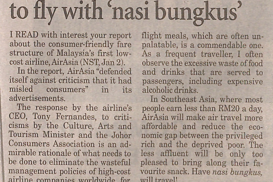 airasia makes it possible to fly with 'nasi bungkus'