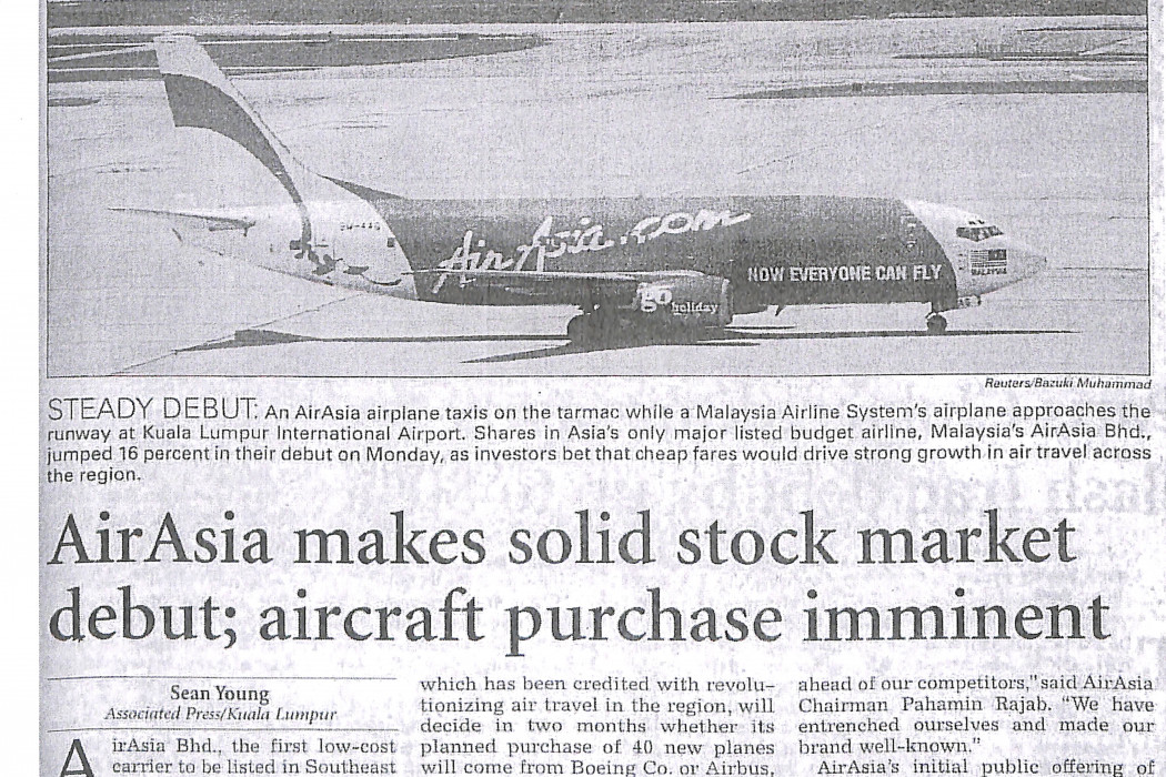 airasia makes solid stock market debut; aircrfat purchase imminent